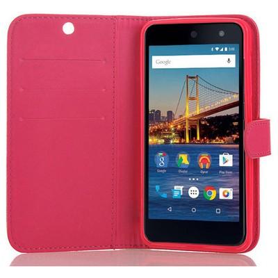 Microsonic General Mobile Android One 4g Cüzdanlı Deri Kılıf Pembe Cep Telefonu Kılıfı