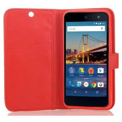 Microsonic General Mobile Android One 4g Cüzdanlı Deri Kılıf Kırmızı Cep Telefonu Kılıfı