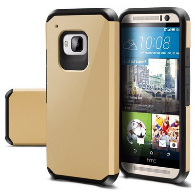 Microsonic Slim Fit Dual Layer Armor Htc One M9 Kılıf Gold Sarı Cep Telefonu Kılıfı