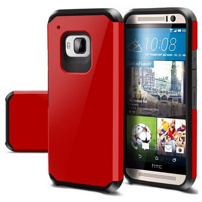 Microsonic Slim Fit Dual Layer Armor Htc One M9 Kılıf Kırmızı Cep Telefonu Kılıfı