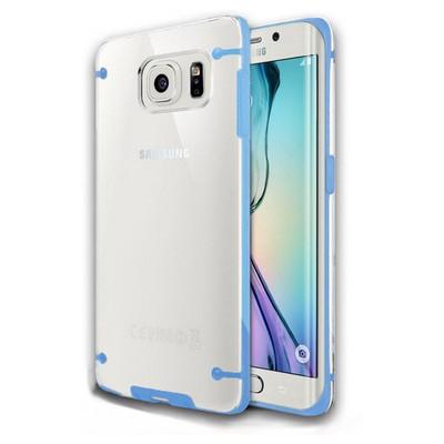 Microsonic Hybrid Transparant Samsung Galaxy S6 Edge Kılıf Mavi Cep Telefonu Kılıfı