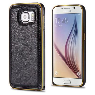 Microsonic Derili Metal Delüx Samsung Galaxy S6 Kılıf Siyah Cep Telefonu Kılıfı