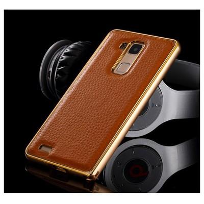 Microsonic Derili Metal Delüx Huawei Ascend Mate 7 Kılıf Kahverengi Cep Telefonu Kılıfı