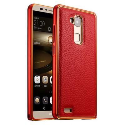 Microsonic Derili Metal Delüx Huawei Ascend Mate 7 Kılıf Kırmızı Cep Telefonu Kılıfı