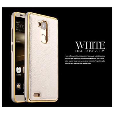 Microsonic Derili Metal Delüx Huawei Ascend Mate 7 Kılıf Beyaz Cep Telefonu Kılıfı