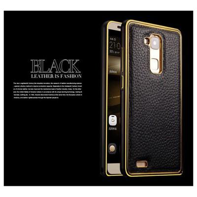 Microsonic Derili Metal Delüx Huawei Ascend Mate 7 Kılıf Siyah Cep Telefonu Kılıfı