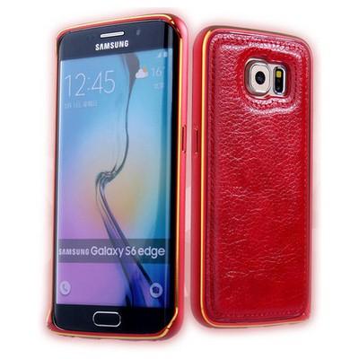 Microsonic Derili Metal Delüx Samsung Galaxy S6 Edge Kılıf Kırmızı Cep Telefonu Kılıfı