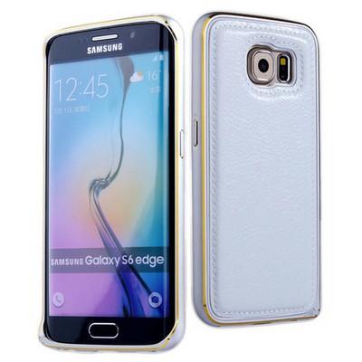 Microsonic Derili Metal Delüx Samsung Galaxy S6 Edge Kılıf Beyaz Cep Telefonu Kılıfı