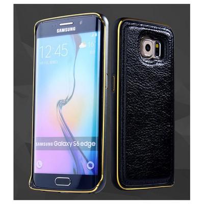 Microsonic Derili Metal Delüx Samsung Galaxy S6 Edge Kılıf Siyah Cep Telefonu Kılıfı