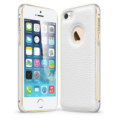 Microsonic Derili Metal Delüx Iphone 5s Kılıf Beyaz Cep Telefonu Kılıfı