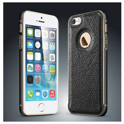 Microsonic Derili Metal Delüx Iphone 5s Kılıf Siyah Cep Telefonu Kılıfı