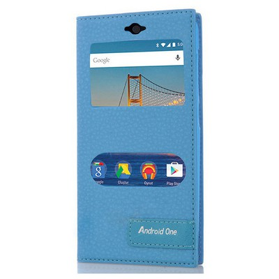 Microsonic General Mobile Android One 4g Kılıf Gizli Mıknatıslı Dual View Delux Mavi Cep Telefonu Kılıfı