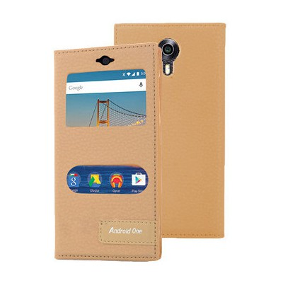 Microsonic General Mobile Android One 4g Kılıf Gizli Mıknatıslı Dual View Delux Gold Cep Telefonu Kılıfı