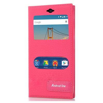 Microsonic General Mobile Android One 4g Kılıf Gizli Mıknatıslı Dual View Delux Pembe Cep Telefonu Kılıfı