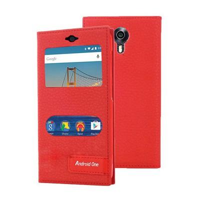 Microsonic General Mobile Android One 4g Kılıf Gizli Mıknatıslı Dual View Delux Kırmızı Cep Telefonu Kılıfı