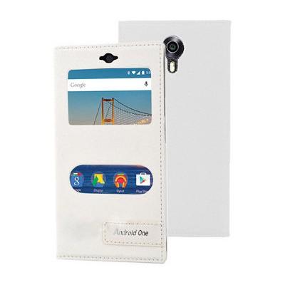 Microsonic General Mobile Android One 4g Kılıf Gizli Mıknatıslı Dual View Delux Beyaz Cep Telefonu Kılıfı