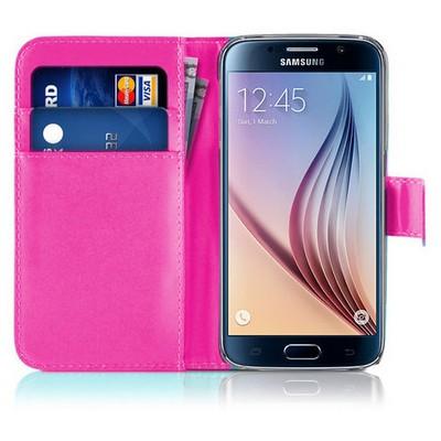 Microsonic Cüzdanlı Deri Samsung Galaxy S6 Kılıf Pembe Cep Telefonu Kılıfı