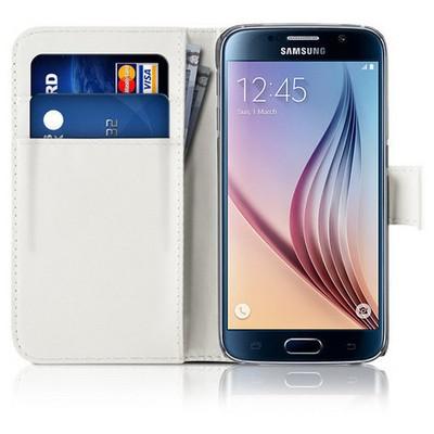 Microsonic Cüzdanlı Deri Samsung Galaxy S6 Kılıf Beyaz Cep Telefonu Kılıfı