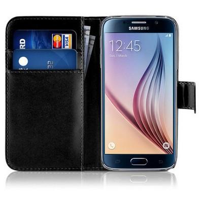 Microsonic Cüzdanlı Deri Samsung Galaxy S6 Kılıf Siyah Cep Telefonu Kılıfı