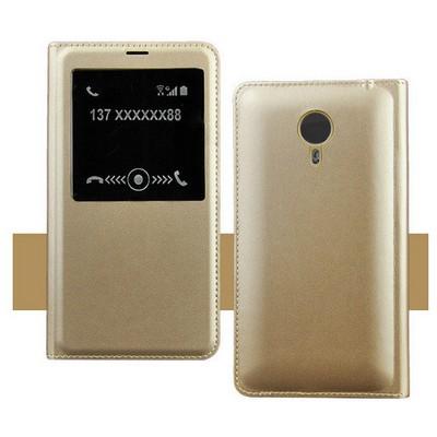 Microsonic Meizu Mx4 Pro Kılıf Slim View Kapaklı Deri Gold Cep Telefonu Kılıfı