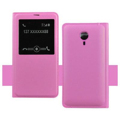 Microsonic Meizu Mx4 Pro Kılıf Slim View Kapaklı Deri Pembe Cep Telefonu Kılıfı
