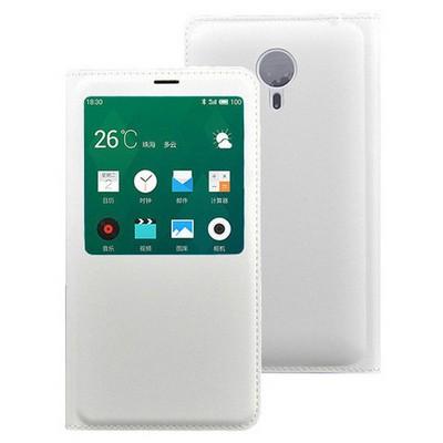 Microsonic Meizu Mx4 Pro Kılıf Slim View Kapaklı Deri Beyaz Cep Telefonu Kılıfı