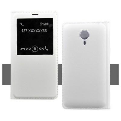 Microsonic Meizu Mx4 Kılıf Slim View Kapaklı Deri Beyaz Cep Telefonu Kılıfı