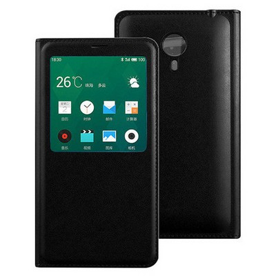 Microsonic Meizu Mx4 Kılıf Slim View Kapaklı Deri Siyah Cep Telefonu Kılıfı