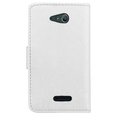 Microsonic Cüzdanlı Deri Sony Xperia E4 Kılıf Beyaz Cep Telefonu Kılıfı