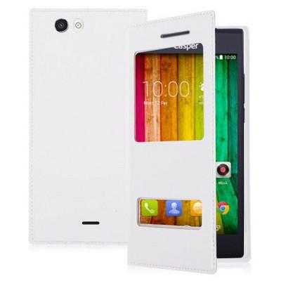 Microsonic Dual View Delux Kapaklı Casper Via V6 Kılıf Beyaz Cep Telefonu Kılıfı