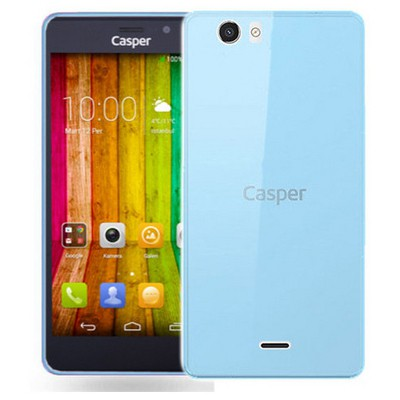 Microsonic Casper Via V6 Kılıf Transparent Soft Mavi Cep Telefonu Kılıfı