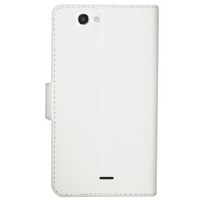 Microsonic Cüzdanlı Deri Casper Via V8c Kılıf Beyaz Cep Telefonu Kılıfı