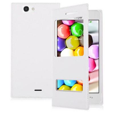 Microsonic Dual View Delux Kapaklı Casper Via V8c Kılıf Beyaz Cep Telefonu Kılıfı