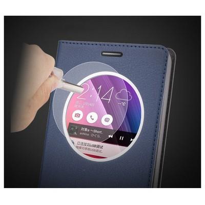 Microsonic Circle View Slim Deri Asus Zenfone 2 (5.5'') Kılıf Akıllı Gold Cep Telefonu Kılıfı