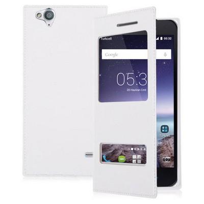 Microsonic Dual View Delux Kapaklı Turkcell T60 Kılıf Beyaz Cep Telefonu Kılıfı