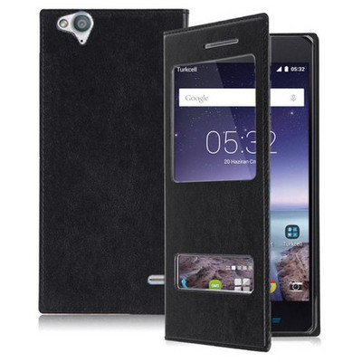 Microsonic Dual View Delux Kapaklı Turkcell T60 Kılıf Siyah Cep Telefonu Kılıfı