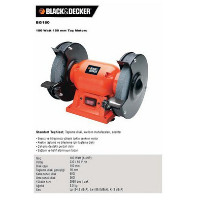 Black & Decker Bg180 180watt 150mm Taş Motoru Taşlama