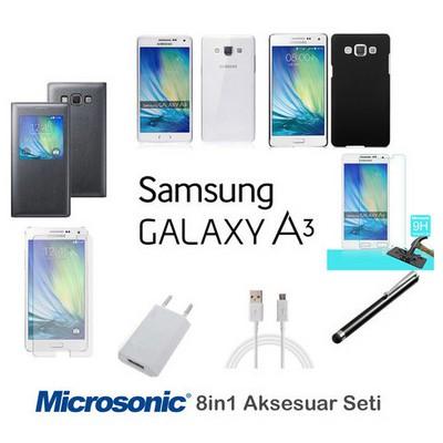 Microsonic Samsung Galaxy A3 Kılıf & Aksesuar Seti 8in1 Cep Telefonu Kılıfı