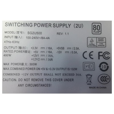 TGC -sg2u500 2u 500w Power Sunucu Aksesuarları