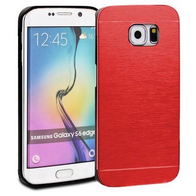 Microsonic Samsung Galaxy S6 Edge Kılıf Hybrid Metal Kırmızı Cep Telefonu Kılıfı
