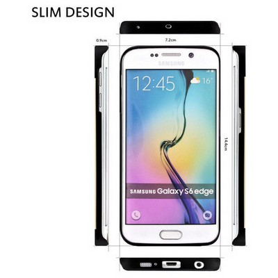 Microsonic Samsung Galaxy S6 Edge Kılıf Hybrid Metal Gold Cep Telefonu Kılıfı