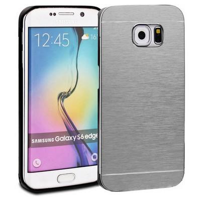 Microsonic Samsung Galaxy S6 Edge Kılıf Hybrid Metal Gümüş Cep Telefonu Kılıfı
