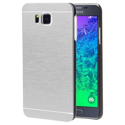 Microsonic Samsung Galaxy Alpha Kılıf Hybrid Metal Gümüş Cep Telefonu Kılıfı