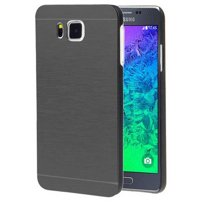 Microsonic Samsung Galaxy Alpha Kılıf Hybrid Metal Siyah Cep Telefonu Kılıfı