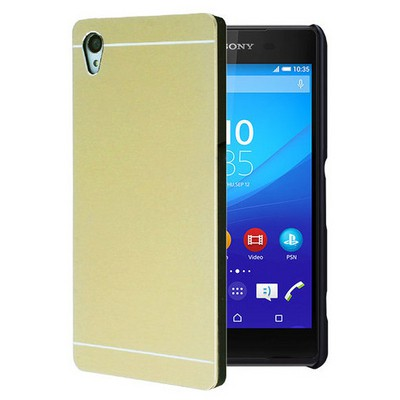 Microsonic Sony Xperia Z3+ Plus Kılıf Hybrid Metal Gold Cep Telefonu Kılıfı