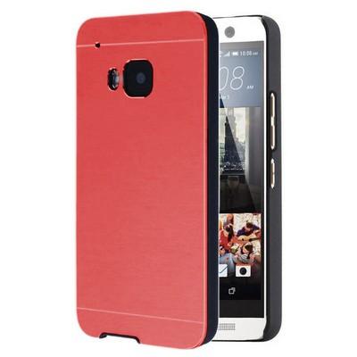 Microsonic Htc One M9 Kılıf Hybrid Metal Kırmızı Cep Telefonu Kılıfı
