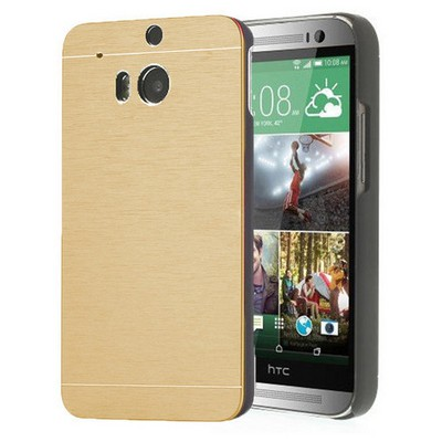 Microsonic Htc One M8 Kılıf Hybrid Metal Gold Cep Telefonu Kılıfı