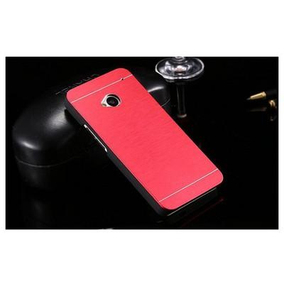Microsonic Htc One M7 Kılıf Hybrid Metal Kırmızı Cep Telefonu Kılıfı