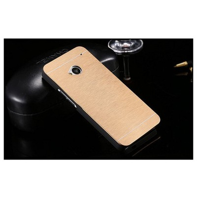 Microsonic Htc One M7 Kılıf Hybrid Metal Gold Cep Telefonu Kılıfı