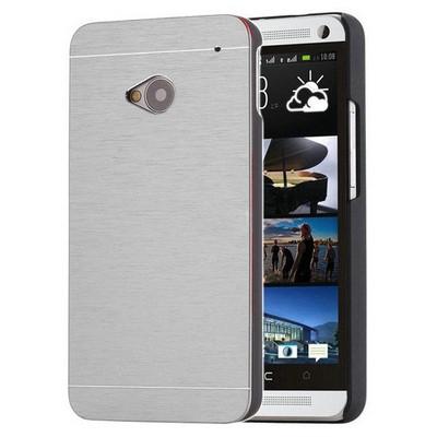 Microsonic Htc One M7 Kılıf Hybrid Metal Gümüş Cep Telefonu Kılıfı
